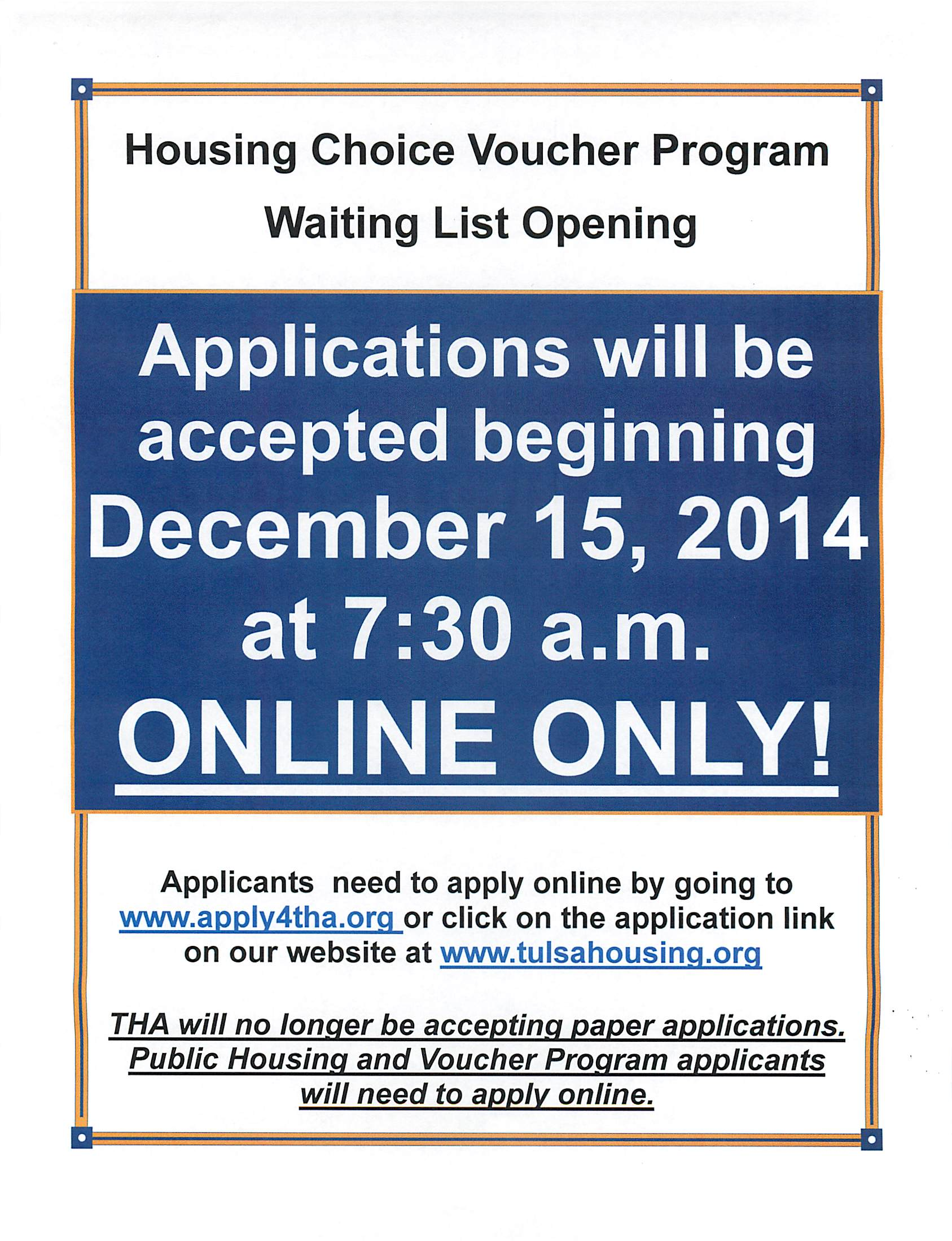 Tulsa Housing Authority – Voucher Program Open | News You Can Use!