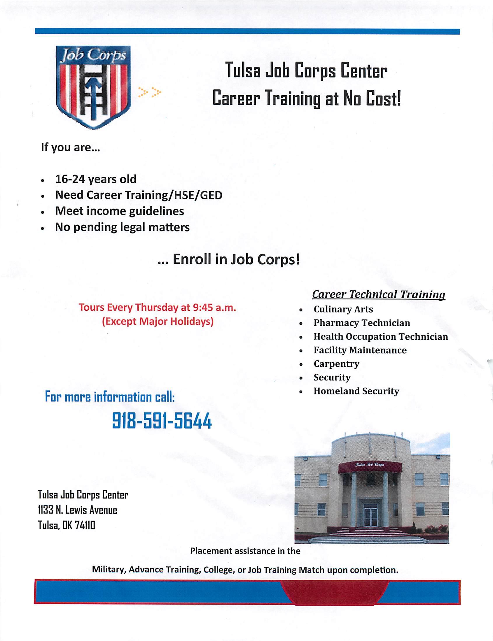 Tulsa Corps Center Job