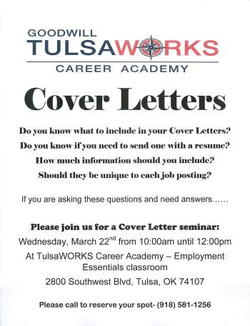 FREE Seminar on Writing Cover Letters 3/22